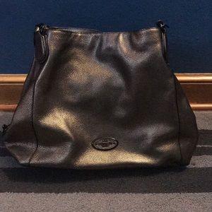 Coach shoulder bag. Metallic gun metal color.
